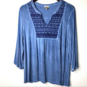 Boho embroidered peasant top 3/4 sleeves